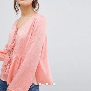 NEVER WORN! ASOS pink tassel blouse floral fabric